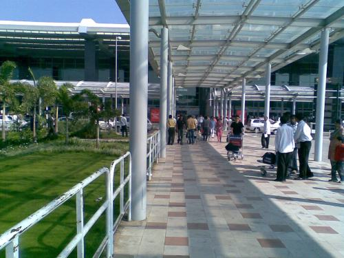 From the bus bay to the entrance to the terminals is a short walk, via this canopy.